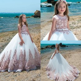 Robe Tulle Pas Cher-Princesse Flower Girl Robes Pageant Robes pour les filles Jewel Encolure Applique Flower Girl Dress Floor Longueur Girl Pageant Gowns