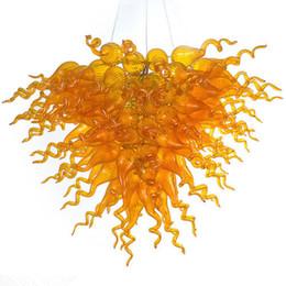 Discount beautiful crystal chandelier lighting - Beautiful Modern Design Amber Blown Glass LED Chandelier Art Decoration Lamps Energy Saving Light Source Crystal Chandel