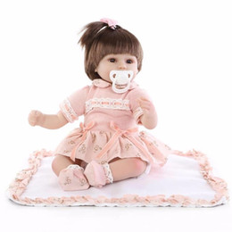 Lovely Doll Silicone Canada - 18 Inches Soft Silicone Cloth Body Reborn Baby Doll Lovely Newborn Princess Girls Wearing Orange Clothes Kids Birthday Gift