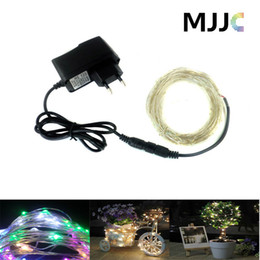 Green Wire Netting Canada - 5M 50LEDs Fairy String Light Copper Wire String Lights 12v DC Waterproof Colorful Light With Adapter for Christmas Holiday Decoration
