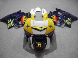 $enCountryForm.capitalKeyWord Australia - Custom Fairing kit for HONDA CBR600F3 95 96 CBR600 F3 CBR 600F3 1995 1996 CBR 600 ABS yellow blue Fairings set+8gifts HM04