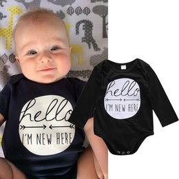 kids long jumpsuit Australia - Newborn Infant Baby Boys Girls Cotton Romper i'm new here kids long sleeve black Jumpsuit hello printed Bodysuit casual Clothes top Outfits