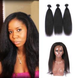 Discount 3pcs hair closure - 3pcs Mongolian Virgin Hair Bundles With 360 Lace Frontal Closure Pre Plucked Natural Color Mongolian Kinky Straight Huma