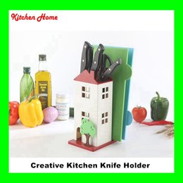 scissors stand 2019 - Creative House Design Kitchen Knife Stand Plastic ABS Knife Holder Cutting Board Scissor Knives Holder Kitchen Tools