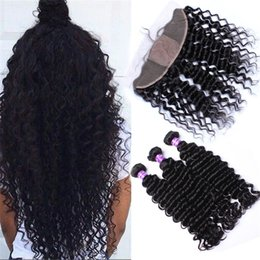 34 inches hair Australia - 8A Grade 13*4 Silk Base Lace Frontal Closure With Bundles Human 3 Bundles Brazilian Hair With Closure Deep Wave Curly Hair