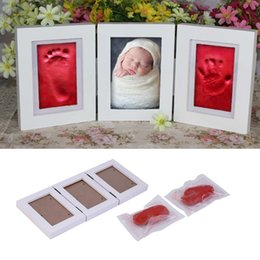 Cute Baby Photo frame DIY handprint or footprint Soft Clay Safe Inkpad non toxic easy to use Free ship c for baby on Sale