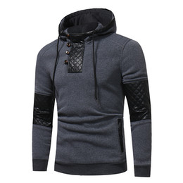 leather sleeve sweatshirts Canada - 2017 Fashion Men Hoodie Sweatshirt Splicing Leather Hooded Casual Jacket Hoodie Sweatshirt Mens Pullover Slim Fit Hooded Hoody Tops