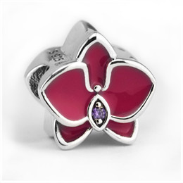 Authentic Flowers Australia - Red Enamel Orchid Charm Beads Authentic 925 Sterling-Silver-Jewelry Summer Flower Charms Beads DIY Brand Bracelets Making Accessories