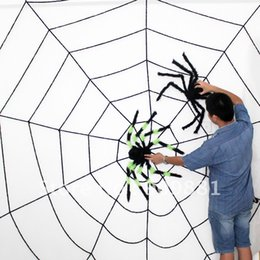 black plush spiders Australia - 3 Meters 6 Ring Extra Large Halloween Bar Decoration Plush One Spider Net (Black or White) And Two Spiders Randomly Freeshipping