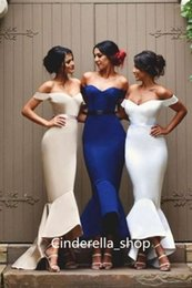 Robe De Mariée Haute Robe Pas Cher-Gorgeous Wedding Guest Dresses 2017 Manteaux à capuchon Off The Shoulder High Low Sweep Train Design simple Cheap Gaine Robes de demoiselle d'honneur