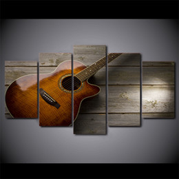 guitar art posters 2020 - 5 Pcs Set Framed Printed Classical Guitar Painting Poster Home Wall Decor Canvas Picture Art HD Print Painting Artworks