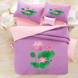 $enCountryForm.capitalKeyWord Australia - 3D Lotus Leaves bedding 4pcs sets cotton print dreaming purple home duvet cover kit pillow case bedsheet mattress free shipping