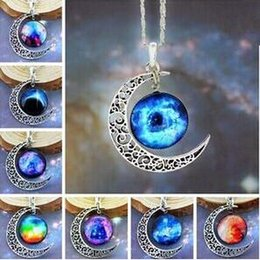 $enCountryForm.capitalKeyWord Canada - Vintage moon necklace 12 colors starry Moon Outer space Universe Gemstone necklaces pendants Chain jewelry Children Accessorie free shipping