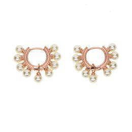 China 925 Sterling Silver sea pearl bead huggie hoop elegant delicate women girl jewelry fit pandora silver pearl earring cheap sea earrings suppliers