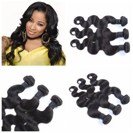 Discount maylasian weft hair - G-EASY Maylasian hair body wave 3 pcs lot No Shed No Tangle Malaysian human hair Natural Black 8-30 body wave Free shipp