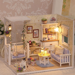 affordable dollhouse furniture. wholesaledoll house diy miniature wooden puzzle 3d dollhouse miniaturas furniture doll for birthday gift toys h13 affordable