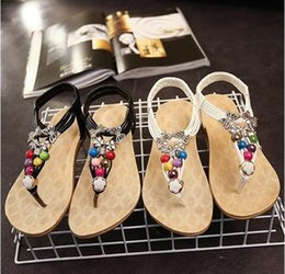 $enCountryForm.capitalKeyWord Canada - 2016 summer new Rhinestone Beaded T-Tied flat sandals thong sandals Bohemian fashion Shoes