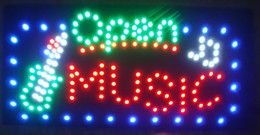 Led music signs online shopping - Hot Sale Graphics Led Open Music store Signs led display X27 Inch led billboards