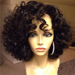 Virign Indian Hair Canada - 8A Human Hair Curly Wigs With Baby Hair Unprocessed Virign Brazilian Full Lace Wigs   Short Curly Lace Front Wig For Black Women