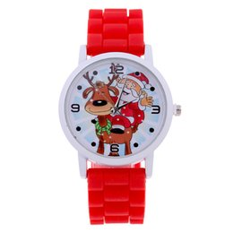 China Top Brand Fashion Colorfull Santa Claus Cartoon Watch Women Ladies Girls Female Clock Christmas Quartz Silicone Gift Watches cheap black santa claus suppliers