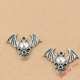 $enCountryForm.capitalKeyWord Australia - 100pcs Tibetan Silver Plated Skull Wings Pirate Charms Pendants For Jewelry Making Diy Craft Handmade 17x23mm jewelry making