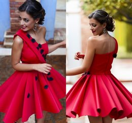 Handmade lace flower cocktail dresses online shopping - New Arrival Fashion Cocktail Dresses Handmade Flowers One Shoulder Prom Party Gown Mini Short Homecoming Mini Party Dress Club Custom Made