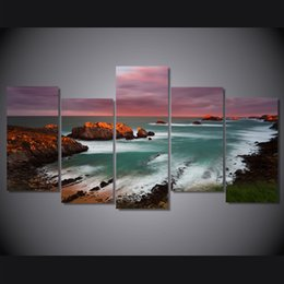 $enCountryForm.capitalKeyWord NZ - 5 Pcs Set Framed Printed Sunset Beach Landscpae Painting on canvas room decoration print poster picture canvas Free shipping ny-4973