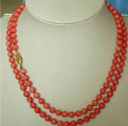 Long beaded neckLace designs online shopping - PERFECT NEW DESIGN LONG NATURAL MM RED CORAL NECKLACE K GOLD