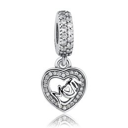 $enCountryForm.capitalKeyWord NZ - 925 Sterling Silver MUM Dangle Charms with Cubic Zirconia Love Heart Pendant Charms for DIY Beaded Charm Bracelets Mother's Gift S325