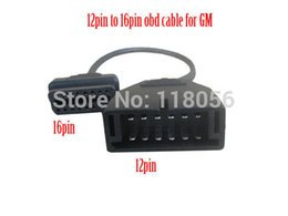 Obd1 Obd2 Connector Canada - Wholesale-FOR GM Adaptor 12pin OBD1 to 16Pin OBD2 Connector for GM12 PIN Diagnostic Cable