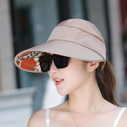 d8eaa6b4259 New Summer Girls Foldable Sun Hats Sun Visor Hat Hats for Women With Big  Heads Beach Hat UV Protection 2017