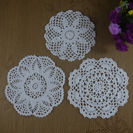$enCountryForm.capitalKeyWord NZ - Free shipping wholesale 100% cotton lace hand made Crochet Doilies cup mat Natural color Round, Square Doily 30PCS LOT 18-20cm ab3h57