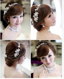 Red Diamond Hair Canada - The Bride Adorn Article Alloy Diamond Pearl Headdress Hair Dress Accessories