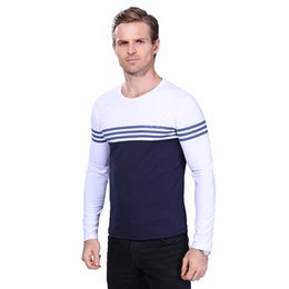 man casual long shirt trends UK - 2017 Autumn Casual T Shirt Men Fashion Striped O Neck Long Sleeve Men's T Shirt Slim Fit Mens Clothes Trend Hip Hop Top Tees 5XL YH-038