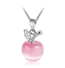 $enCountryForm.capitalKeyWord UK - Hot Pink with Silver chain Apple Shape Cat's Eye Stone Moonstone Pendant Wedding Party Birthday Gift
