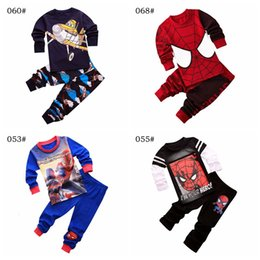 kid red tshirts UK - children boys girls Spiderman pajamas kids sleepwear tshirts + pants clothes sets cartoon pajama clothing set free shipping