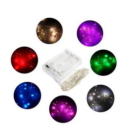 Discount iced lamps - DHL 2M 3M 4M Party Christmas led Battery Power Operated 20 30 40 LEDs copper wire(with silver color) String strips Chris