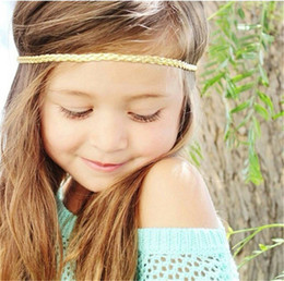 Hair Braids For Kids NZ - Baby Headbands Gold Silver Colors Elastic Braided bands For Baby Girls Hairbands Children Kids Head Bands Children Hair Accessories KHA191
