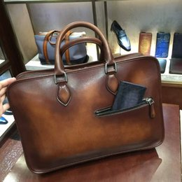 Wholesale- TERSE Large capacity handmade leather tote bag vintage style genuine  leather briefcase for man tobacco handbag custom service a4ad0a60df743