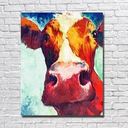 decor designs Australia - Hand painted nice design cartoon cow oil painting for farm home decor in high quality canvas picture