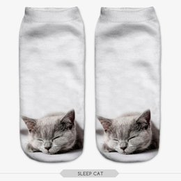 Corte Gato Baratos-Venta al por mayor-Múltiples Colores Harajuku 3D Imprimido Gato calcetines Calcetines Casual Modelado Animal Calcetines Unisex Low Cut Ankle Socks