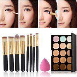 $enCountryForm.capitalKeyWord NZ - High Quality 15 Colors Concealer Palette + Makeup Foundation Sponge + 8 pcs Cosmetic Brush Free Shipping&Wholesale