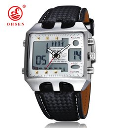 sport watch ohsen Australia - OHSEN Analog Digital Men Sport Watches Backlight Hombre Relogios Masculino Waterproof Genuine Leather Band Wrist Watch Gifts