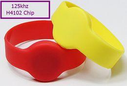 Rfid Print Canada - 500pcs Colorful rfid H4102 125KHZ silicone wristband free DHL Blank Printing