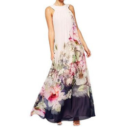 Chinese  2018 Beach Boho Maxi Dresses Print Floral Plus Size Beach-to-Bar White Long Dress Sleeveless Summer Sundress Vestidos Beachwear Tunics Robe manufacturers