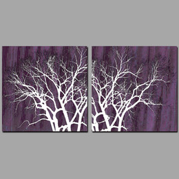 $enCountryForm.capitalKeyWord NZ - 2pcs Modern abstract wall purple pictures decoration forest trees Canvas Painting wall Art print living room home decor unframed