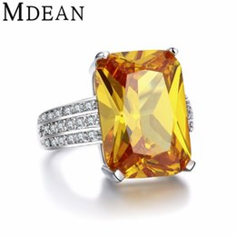 Wholesale MDEAN White Gold Color big yellow stone Rings For Women jewelry engagement wedding women rings bijoux bague MSR890