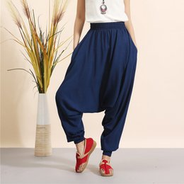 Barato Drop Pantalon-New Fashion Women Linen Haren All-Match Loose Pantalon Palazzo Calças Drop Crotch Calças Hip Hop Calças Doce Coloridas