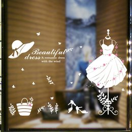 $enCountryForm.capitalKeyWord Australia - Beautiful Dress Hat Heels Bag Wall Stickers Window Glass Cabinet Decor Wall Decals Beautiful Dress Wall Quote Paper Art Wall Mural