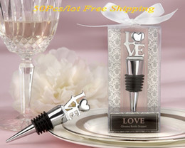 gift boxes for knives UK - (50 Pieces lot) Party Favors of Love Heart Chrome Wine Bottle Stopper Wedding Favors For Guests and wedding door gift